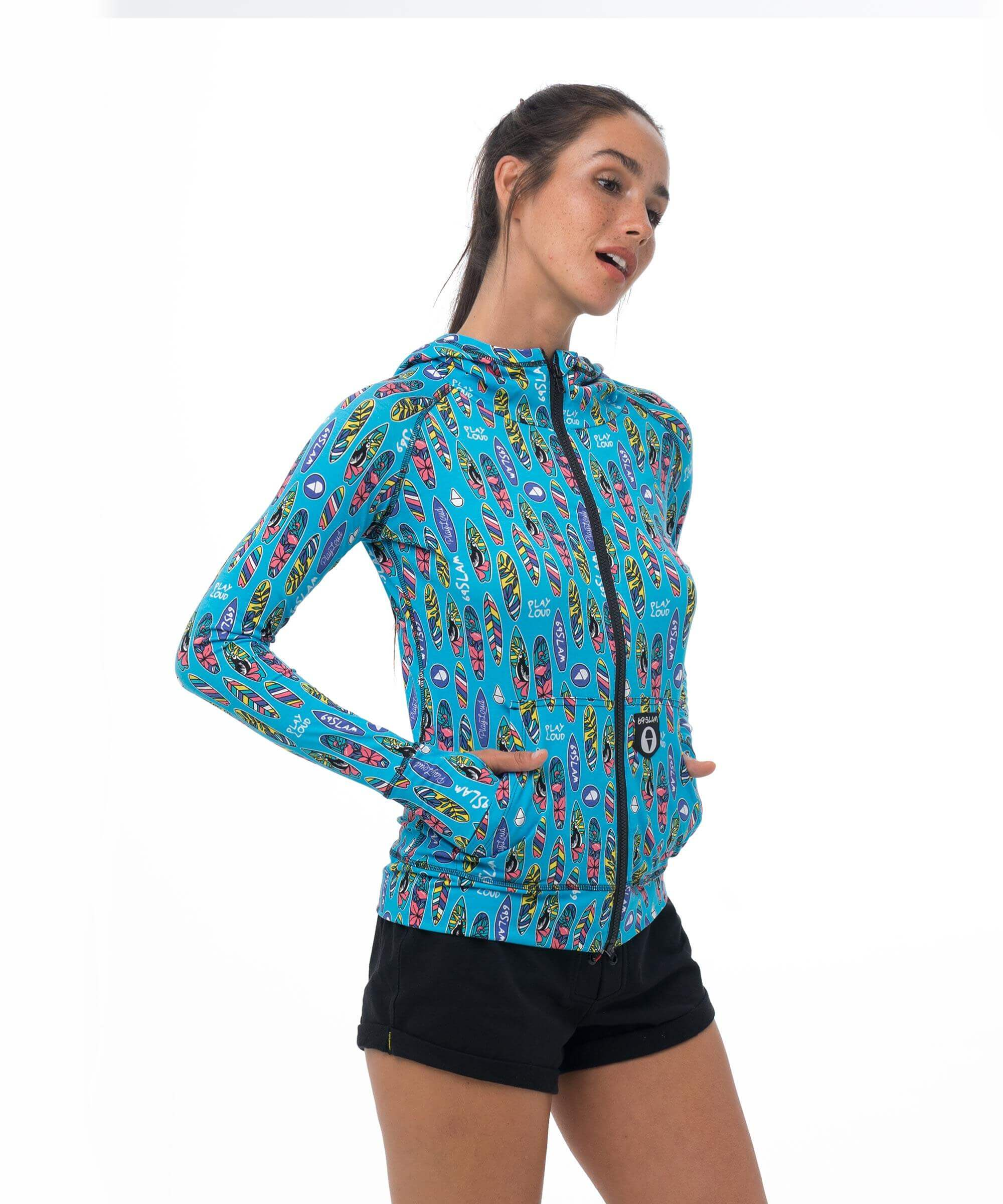 SURFBOARD BLUE BAMBOO HOODED AINA VEST