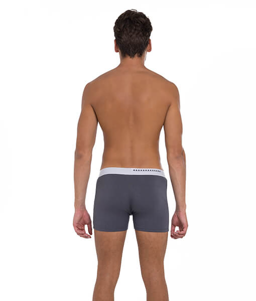 DARK GREY BAMBOO PLAIN BOXER Fitted boxer