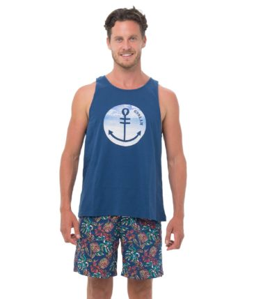 BEACH ANCHOR PHOTO NAVY SINGLET