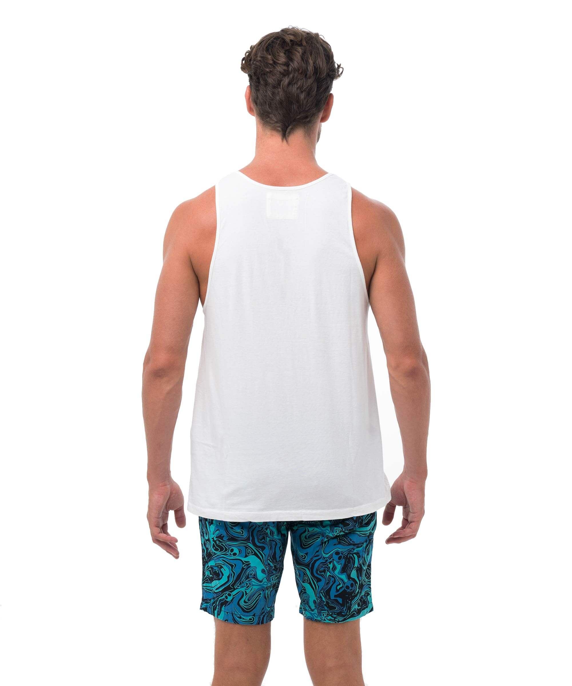 SMIRKING SKY PHOTO WHITE SINGLET