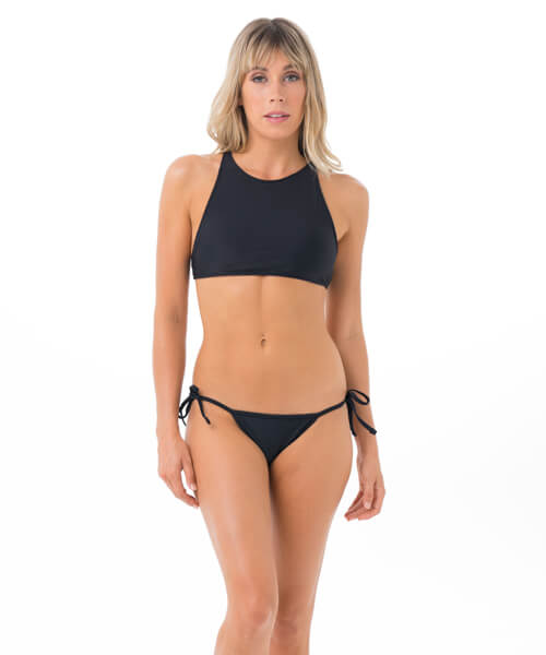 PLAIN BLACK SURF CROP BRA