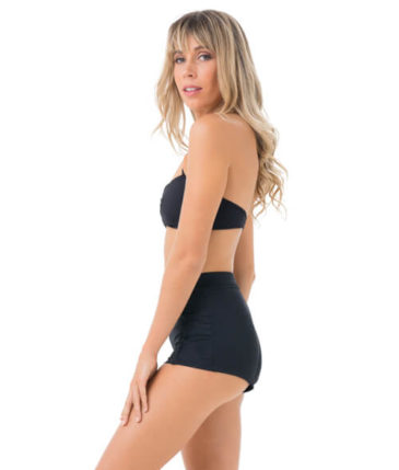 PLAIN BLACK HIGH WAISTED BIKINI BOTTOM