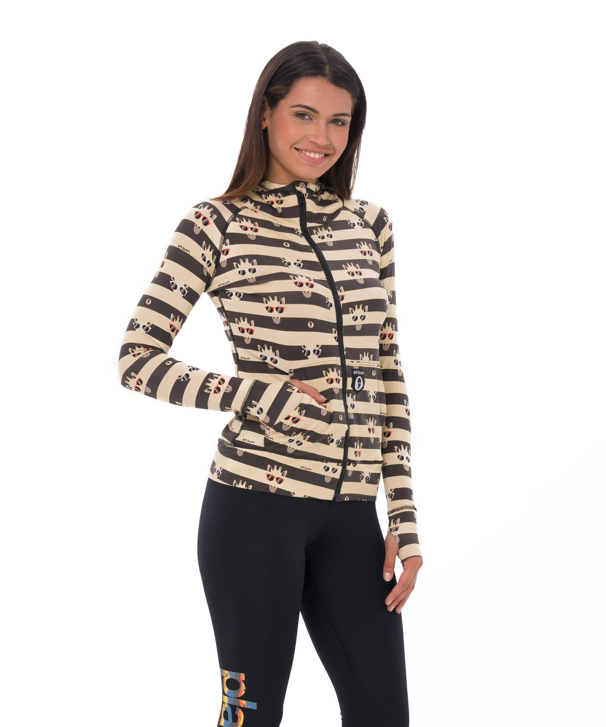 GIRAFFE STRIPES BAMBOO HOODED AINA VEST