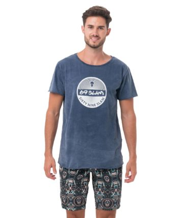 SIX NINE BLUE BARRA BOXY TEE