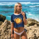SUN OF A BEACH BLUE MARISSA CROP TEE