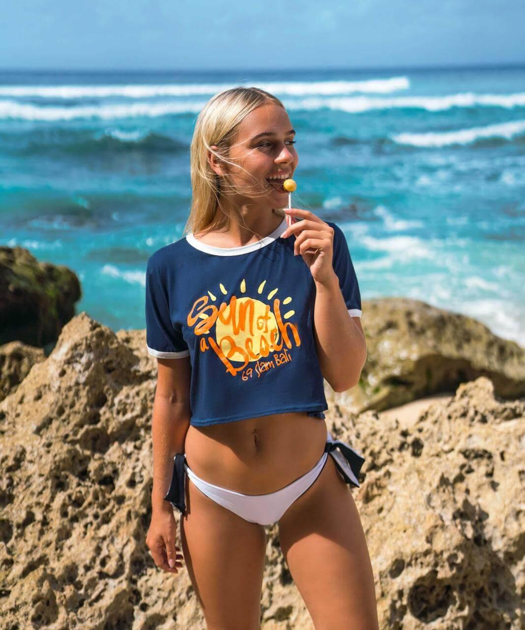 SUN OF A BEACH BLUE MARISSA CROP TEE